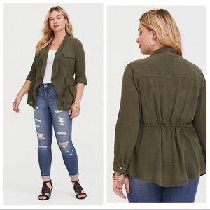 $65 Torrid olive drape gauze anorak jacket 2X